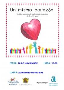 """Ayuntamiento de Novelda 2015-11-28-ESPECTACULO-UN-MISMO-CORAZON-212x300 Espectáculo Infantil """"Un mismo corazón"""", en el Auditorio Municipal."""