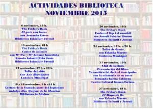 """Ayuntamiento de Novelda PROGRAMACION-BIBLIOTECA-NOVIEMBRE-2015-300x214 Cuentacuentos. """"Contes d'animals"""", en Biblioteca Infantil y Juvenil."""