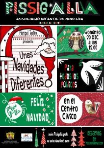 """Ayuntamiento de Novelda 2015-12-20-PISSIGALLA-UNAS-NAVIDADES-DIFERENTES-212x300 Espectáculo Infantil. """"Unas Navidades diferentes"""", en el Auditorio Municipal."""