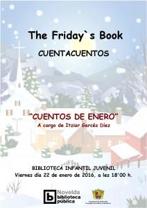 """Ayuntamiento de Novelda 2016-01-22-CARTEL-FRIDAYS-BOOK-212x300 Cuentacuentos. Friday's Book. """"La Fiesta de Enero"""", en la Biblioteca Infantil y Juvenil."""