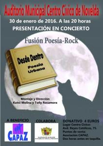 """Ayuntamiento de Novelda 2016-01-30-POESIA-FUSION-ROCK-212x300 Recital de poesía Fusión-Rock """"Desde dentro"""" a beneficio de CAPAZ, en Auditorio Municipal  ."""