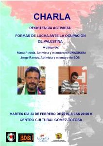 """Ayuntamiento de Novelda 2016-02-23-CHARLA-ACTIVISTAS-PALESTINA-212x300 Charla """"Resistencia activista. Formas de lucha ante la ocupación de Palestina"""", en el Centro Cultural Gómez-Tortosa."""