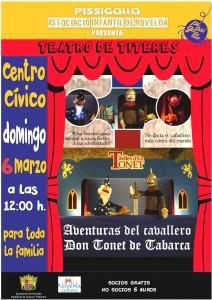 """Ayuntamiento de Novelda 2016-03-06-DON-TONET-CARTEL-CASTELLANO-212x300 Marionetas. """"Aventuras del Caballero don Tonet de Tabarca"""", en el Auditorio Municipal. Marionetas."""