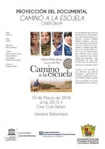 """Ayuntamiento de Novelda 2016-03-10-CAMINO-A-LA-ESCUELA-212x300 Cinefórum. Documental """"Camino a la escuela"""", en el Cine Club Dehon."""