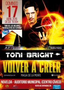 """Ayuntamiento de Novelda 2016-04-17-MAGIA-VOLVER-A-CREER-212x300 Actuación Toni Brigth: """"Volver a creer, magia de la mente"""", en el Auditorio Municipal."""