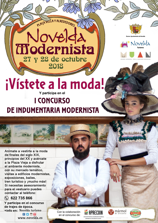 VISTETE A LA MODA Y I CONCURSO INDUMENTARIA Novelda modernista 2018