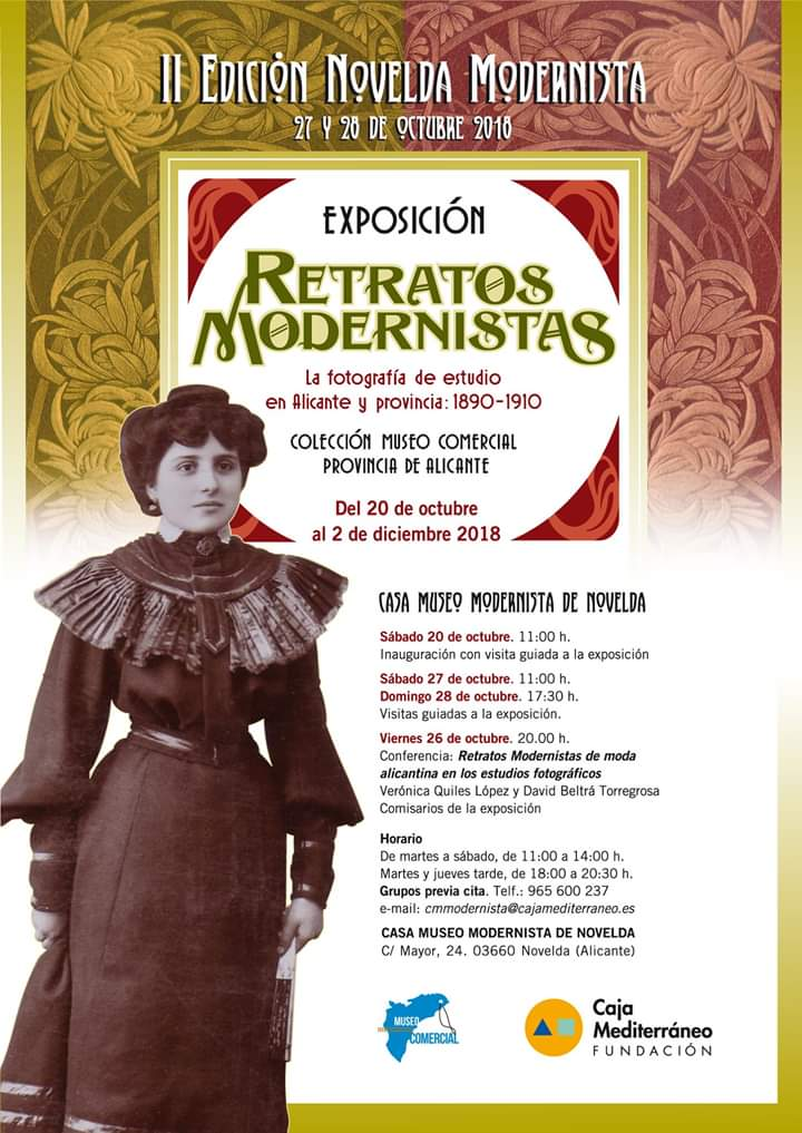 cartel charla indumentaria Novelda modernista 2018
