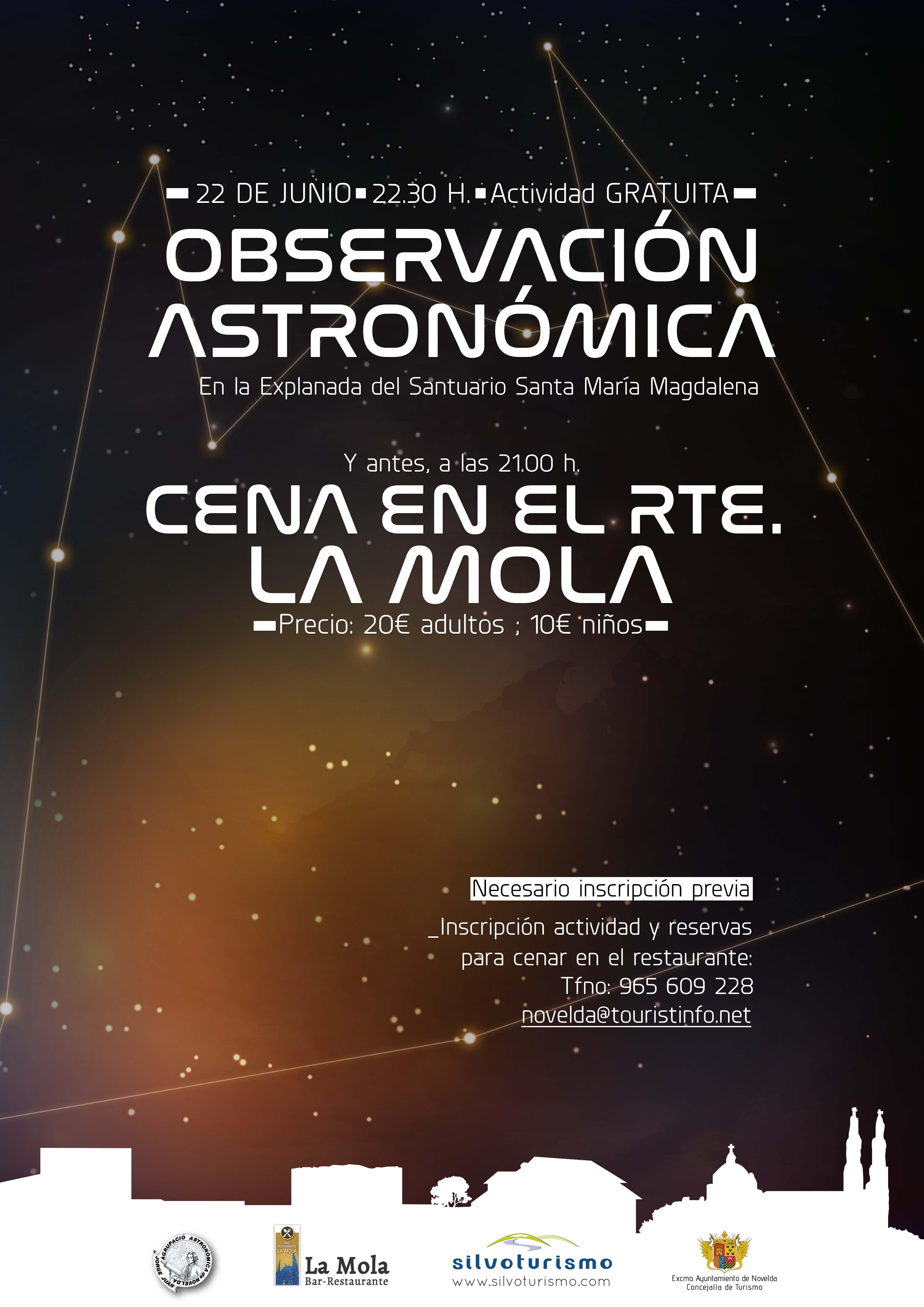 cartel observación astronómica 22 junio 2018 Novelda